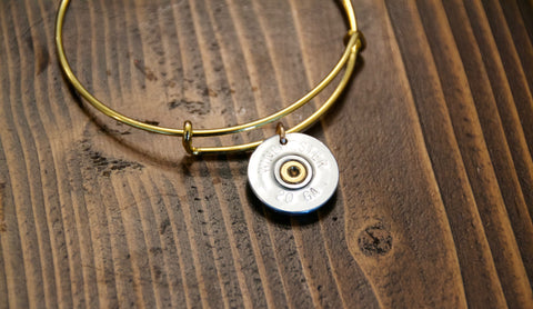 Adjustable Shotgun Brass Bangle Silver Winchester 20 Gauge