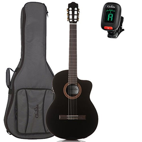 Cordoba C5-CEBK Nylon Acoustic Electric Guitar with Deluxe Gig Bag And Tuner, Black Cordoba C5-CEBK Nylon Acoustic Electric Guitar with Deluxe Gig Bag And Tuner, Black Musical Instruments Cordoba GuitarVault  - GuitarVault.com