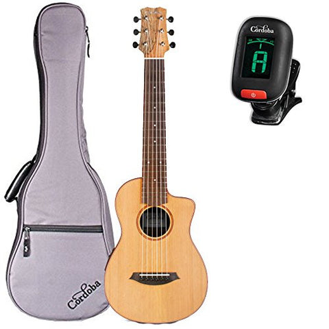 Cordoba Mini SM-CE Spalted Maple Travel Acoustic-Electric Nylon String Guitar with Gig Bag and Tuner Cordoba Mini SM-CE Spalted Maple Travel Acoustic-Electric Nylon String Guitar with Gig Bag and Tuner Nylon String Guitars Cordoba GuitarVault  - GuitarVault.com