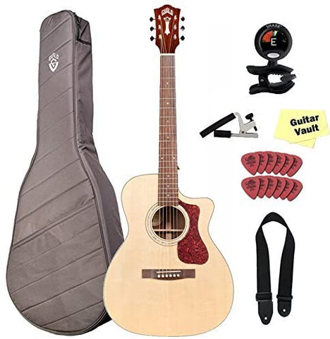 Guild OM-150CE Acoustic-Electric Guitar With Guild Deluxe Gig Bag and Accessory Pack, Natural