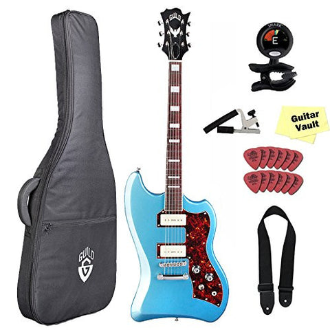 Guild Guitars T-Bird ST Franz P90 Electric Guitar with Guild Gig Bag, Pelham Blue Guild Guitars T-Bird ST Franz P90 Electric Guitar with Guild Gig Bag, Pelham Blue Solid Body Electric Guitars Guild GuitarVault  - GuitarVault.com