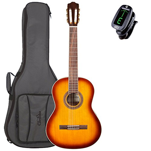 Cordoba C5 Acoustic Nylon String Guitar with Tuner and Deluxe Gig Bag, Sunburst Cordoba C5 Acoustic Nylon String Guitar with Tuner and Deluxe Gig Bag, Sunburst Nylon String Guitars Cordoba GuitarVault  - GuitarVault.com