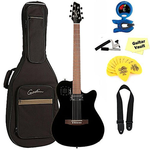 Godin A6 Ultra Black Acoustic-Electric with Gig Bag and guitarVault Accessory Pack Godin A6 Ultra Black Acoustic-Electric with Gig Bag and guitarVault Accessory Pack Acoustic-Electric Guitars Godin GuitarVault  - GuitarVault.com