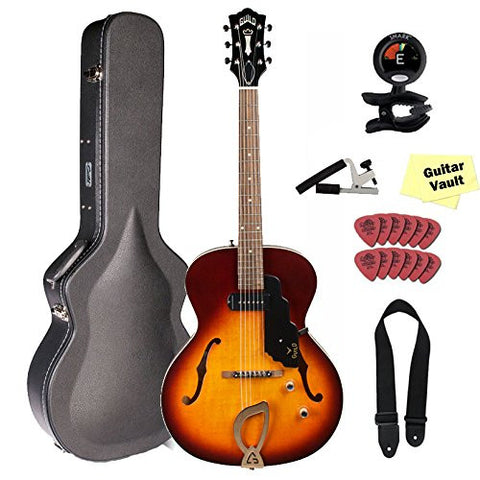 Guild T-50 Slim Hollow Body Electric Guitar with Deluxe Case, Vintage Sunburst Guild T-50 Slim Hollow Body Electric Guitar with Deluxe Case, Vintage Sunburst Hollow Body Electric Guitars Guild GuitarVault  - GuitarVault.com