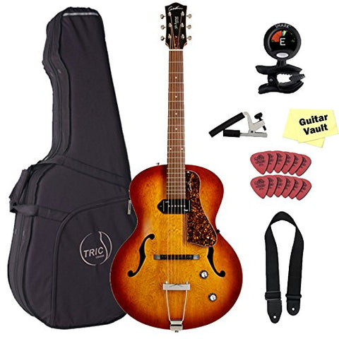 Godin 5th Avenue Kingpin P90 Cognac Burst Jazz-Style Acoustic-Electric Guitar with TRIC Case & Accessory Pack Godin 5th Avenue Kingpin P90 Cognac Burst Jazz-Style Acoustic-Electric Guitar with TRIC Case & Accessory Pack Hollow Body Electric Guitars Godin GuitarVault  - GuitarVault.com