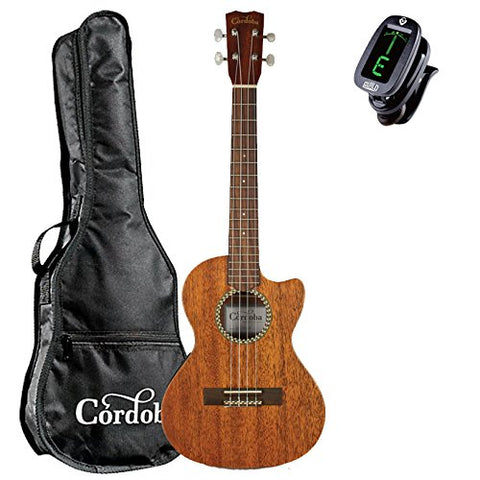 Cordoba 20TM-CE Tenor Acoustic-Electric Ukulele with Cordoba Gig Bag and Clip-On Tuner Cordoba 20TM-CE Tenor Acoustic-Electric Ukulele with Cordoba Gig Bag and Clip-On Tuner Ukuleles Cordoba guitarVault  - GuitarVault.com