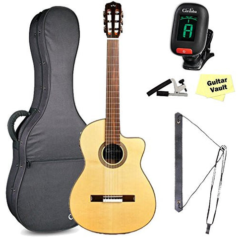 Cordoba Fusion 12 Natural SP Acoustic-Electric Nylon String Guitar With Gig Bag and Accessory Pack Cordoba Fusion 12 Natural SP Acoustic-Electric Nylon String Guitar With Gig Bag and Accessory Pack Nylon String Guitars Cordoba GuitarVault  - GuitarVault.com