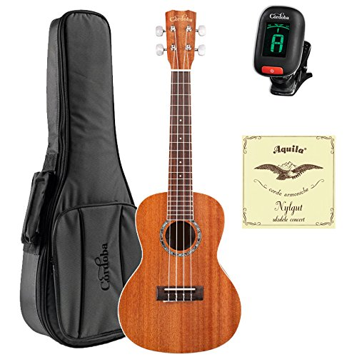 Cordoba 15CM Concert Acoustic Ukulele with Cordoba Deluxe Gig Bag, Cordoba Tuner, and Extra Set Aquila 7U Strings Cordoba 15CM Concert Acoustic Ukulele with Cordoba Deluxe Gig Bag, Cordoba Tuner, and Extra Set Aquila 7U Strings Musical Instruments Cordoba GuitarVault  - GuitarVault.com