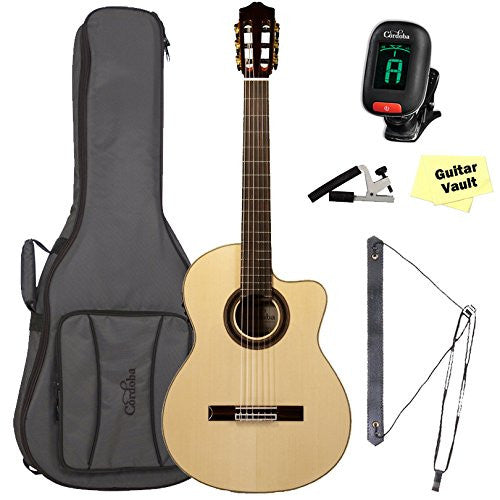 Cordoba GK Studio Negra [Gipsy Kings Signature Model] Acoustic-Electric Nylon String Flamenco Guitar Bundle with Deluxe Gig Bag Cordoba GK Studio Negra [Gipsy Kings Signature Model] Acoustic-Electric Nylon String Flamenco Guitar Bundle with Deluxe Gig Bag Nylon String Guitars Cordoba GuitarVault  - GuitarVault.com