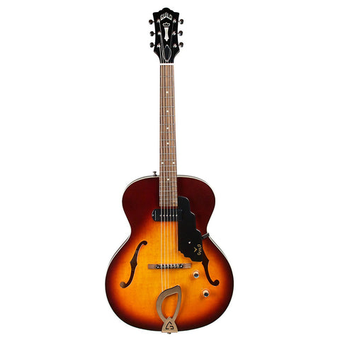Guild T-50 Slim Hollow Body Electric Guitar with Case, Vintage Sunburst) Guild T-50 Slim Hollow Body Electric Guitar with Case, Vintage Sunburst) Hollow Body Electric Guitars Guild GuitarVault  - GuitarVault.com