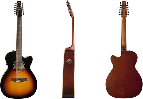 Seagull S12 Spruce Sunburst Cutaway Concert Hall QIT Acoustic-Electric Guitar with Seagull Gig Bag