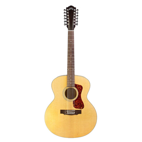 Guild F-2512E Jumbo Acoustic-Electric 12-String Guitar with Deluxe Gig Bag, Natural