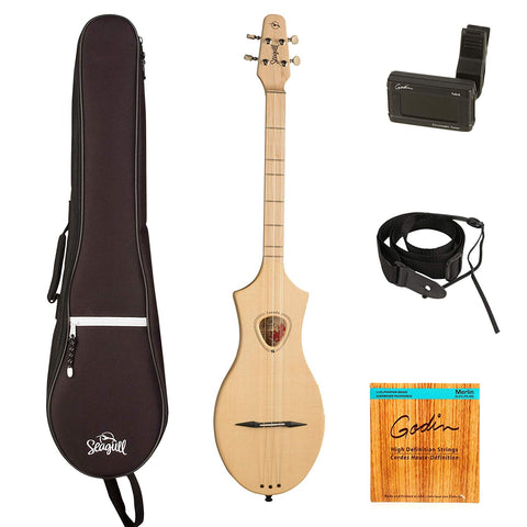 Seagull Merlin M4 Spruce guitarVault Package w/ Gig Bag, Tuner, Strap and Polishing Cloth