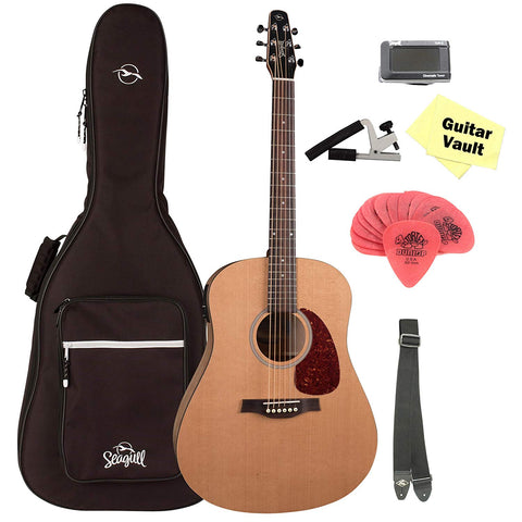 Seagull S6 Classic Dreadnought Acoustic-Electric Guitar Natural With B-Band M-450T, Seagull Gig Bag and GuitarVault Accessory Kit
