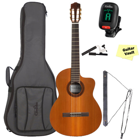 Cordoba C5-CE Acoustic-Electric Nylon String Classical Guitar With Cordoba Deluxe Gig Bag & Accessory Pack Cordoba C5-CE Acoustic-Electric Nylon String Classical Guitar With Cordoba Deluxe Gig Bag & Accessory Pack Nylon String Guitars Cordoba GuitarVault  - GuitarVault.com