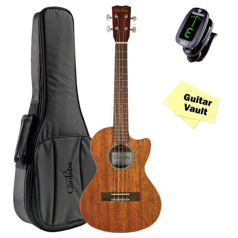 Cordoba 20TM-CE Tenor Acoustic-Electric Ukulele GuitarVault Package with Deluxe Gig Bag, Tuner and Cloth Cordoba 20TM-CE Tenor Acoustic-Electric Ukulele GuitarVault Package with Deluxe Gig Bag, Tuner and Cloth Ukuleles Cordoba GuitarVault  - GuitarVault.com