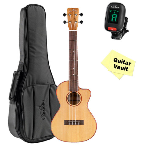 Cordoba 24T-CE Tenor Acoustic-Electric Ukulele with Deluxe Gig Bag, Tuner, and Cloth Cordoba 24T-CE Tenor Acoustic-Electric Ukulele with Deluxe Gig Bag, Tuner, and Cloth Ukuleles Cordoba GuitarVault  - GuitarVault.com