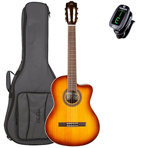 Cordoba C5-CE Sunburst Acoustic-Electric Nylon String Guitar with Tuner and Deluxe Gig Bag Cordoba C5-CE Sunburst Acoustic-Electric Nylon String Guitar with Tuner and Deluxe Gig Bag Nylon String Guitars Cordoba GuitarVault  - GuitarVault.com