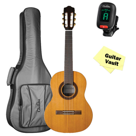 Cordoba Requinto 580 1/2 Size Classical Guitar with Gig Bag, Tuner, and Polishing Cloth Cordoba Requinto 580 1/2 Size Classical Guitar with Gig Bag, Tuner, and Polishing Cloth Nylon String Guitars Cordoba GuitarVault  - GuitarVault.com