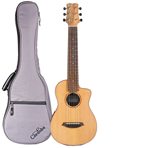Cordoba Mini SM-CE Travel Acoustic-Electric Nylon String Guitar With Cordoba Gig Bag Cordoba Mini SM-CE Travel Acoustic-Electric Nylon String Guitar With Cordoba Gig Bag Nylon String Guitars Cordoba GuitarVault  - GuitarVault.com