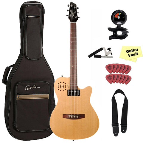 Godin A6 Ultra Natural Electro-Acoustic Guitar with Deluxe Gig Bag, Tuner, Capo, Picks, Cloth, and Strap Godin A6 Ultra Natural Electro-Acoustic Guitar with Deluxe Gig Bag, Tuner, Capo, Picks, Cloth, and Strap Acoustic-Electric Guitars Godin GuitarVault  - GuitarVault.com