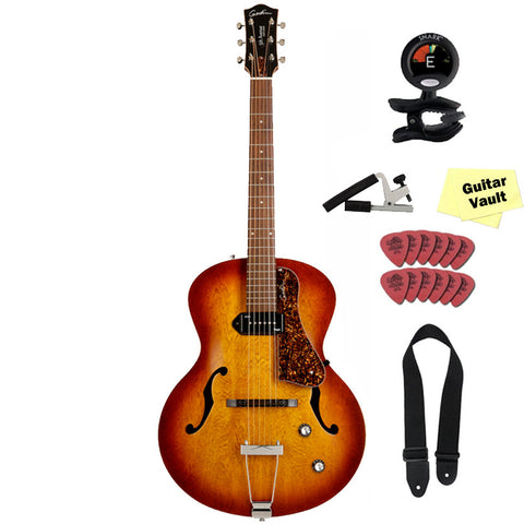 Godin 5th Avenue Kingpin P90 Jazz-Style Archtop Acoustic-Electric Guitar with GuitarVault Accessory Kit, Cognac Burst Godin 5th Avenue Kingpin P90 Jazz-Style Archtop Acoustic-Electric Guitar with GuitarVault Accessory Kit, Cognac Burst Acoustic-Electric Guitars Godin guitarVault  - GuitarVault.com