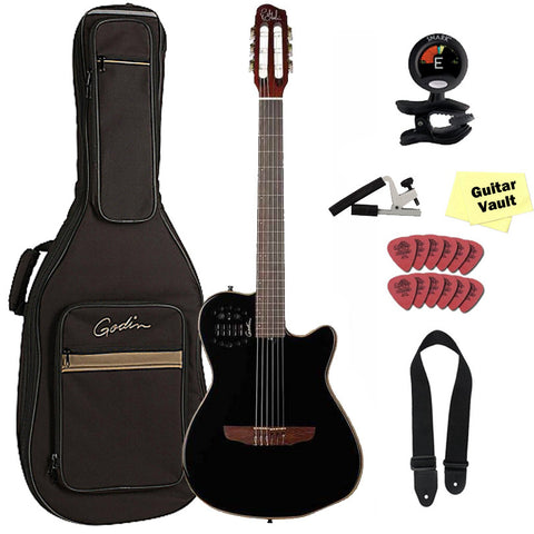 Godin ACS Slim Cedar Black Pearl, 032181, Nylon String Chambered Body Acoustic Electric Guitar with Gig Bag and Accessory Pack Godin ACS Slim Cedar Black Pearl, 032181, Nylon String Chambered Body Acoustic Electric Guitar with Gig Bag and Accessory Pack Nylon String Guitars Godin GuitarVault  - GuitarVault.com