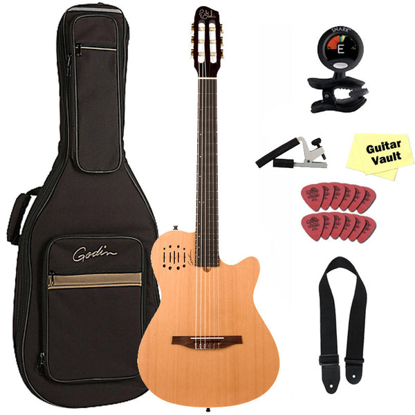 Godin Multiac Nylon Encore Acoustic Electric Classical Guitar with Gig Bag and Accessory Pack, Godin Multiac Nylon Encore Acoustic Electric Classical Guitar with Gig Bag and Accessory Pack, Nylon String Guitars Godin GuitarVault  - GuitarVault.com