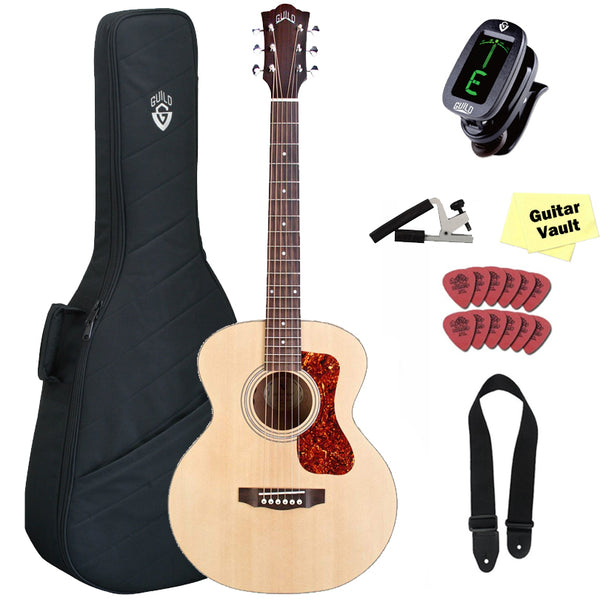 5b601bfd52e Guild Jumbo Junior Mahogany Mini Acoustic-Electric Guitar, with Gig Bag and  Accessory Kit