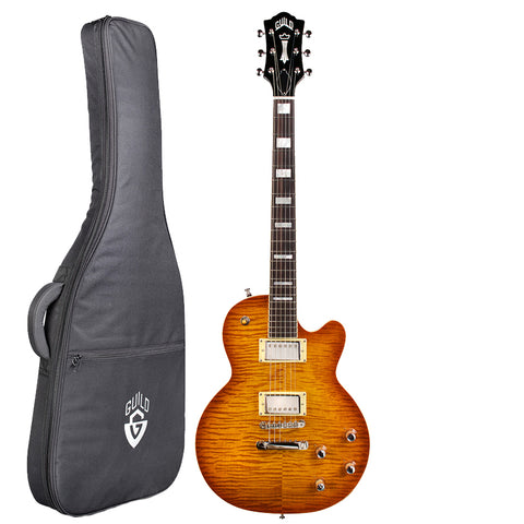 Guild Bluesbird Solid Body Electric Guitar with Gig Bag, Ice Tea Burst Guild Bluesbird Solid Body Electric Guitar with Gig Bag, Ice Tea Burst Solid Body Electric Guitars Guild GuitarVault  - GuitarVault.com