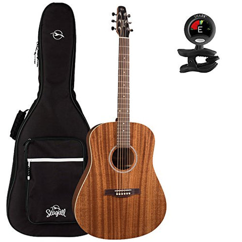 Seagull 38916 S6 Mahogany Deluxe Acoustic-Electric Guitar with Seagull Padded Gig Bag and Snark Tuner