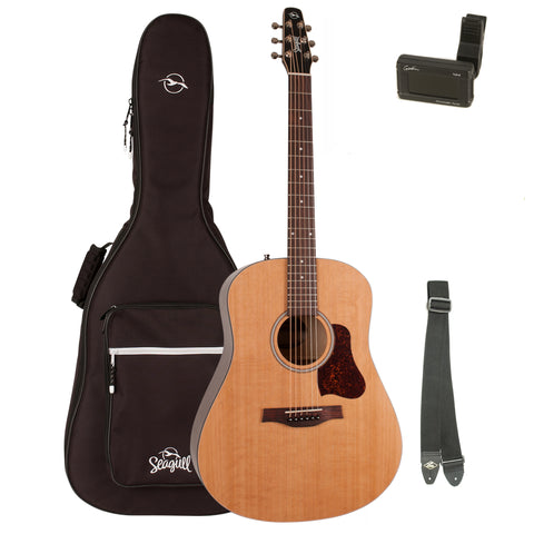 Seagull S6 Original Acoustic Guitar with Seagull Padded Gig Bag , Seagull Tuner, and LM Strap