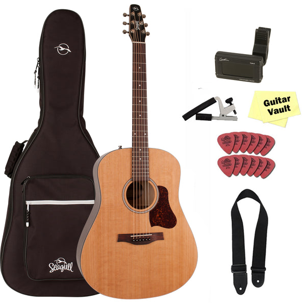 Seagull S6 Original Acoustic Guitar With Seagull Padded Gig Bag and Accessory Kit (2018 Model 046386)