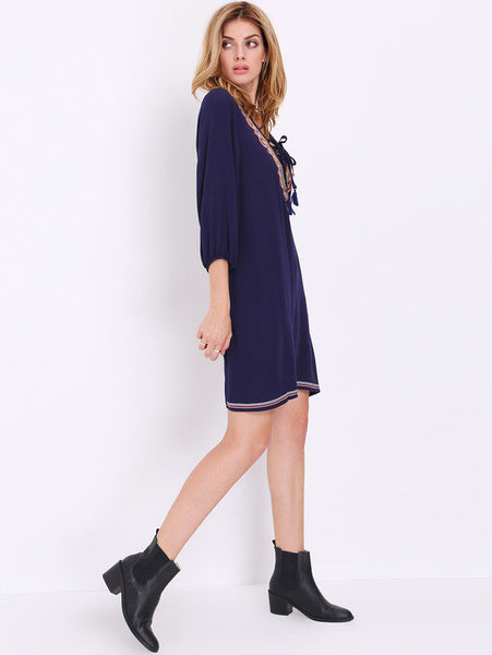 Navy Blue Aztic Embroidered Boho Dress