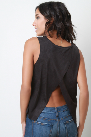 Tulip Back Suede Sleeveless Top