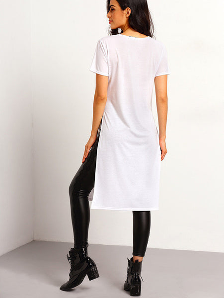 V Neck Split Side T-shirt