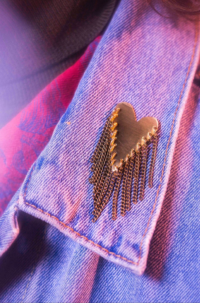 Studded Hearts Brooch