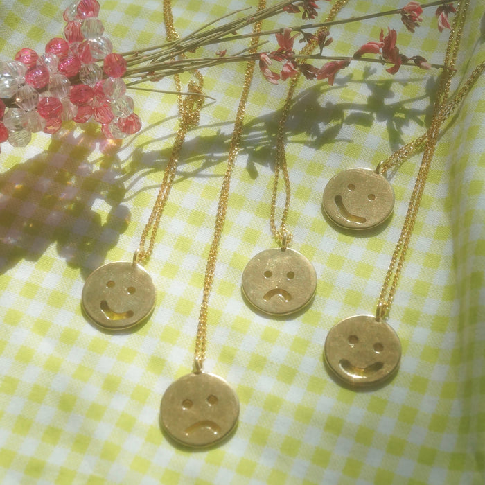 Brass Smiley & Frowny Necklaces