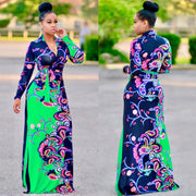 Floral Print Waist-tied stand collar Maxi Dress