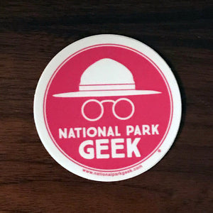 National Park Geek Logo Pink Sticker (includes shipping)