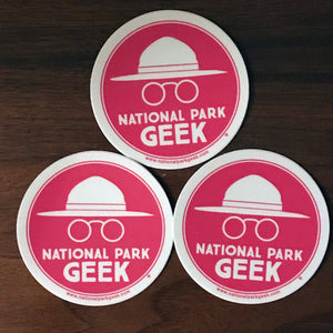 National Park Geek Logo Pink Stickers (3 Pack) (includes shipping)