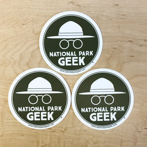 National Park Geek Logo Green Stickers (3 Pack) (includes shipping)