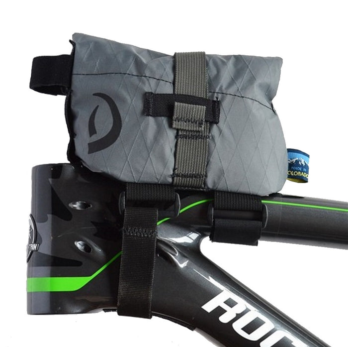 Grey Daly Top Tube Bag - left side view with bag closed
