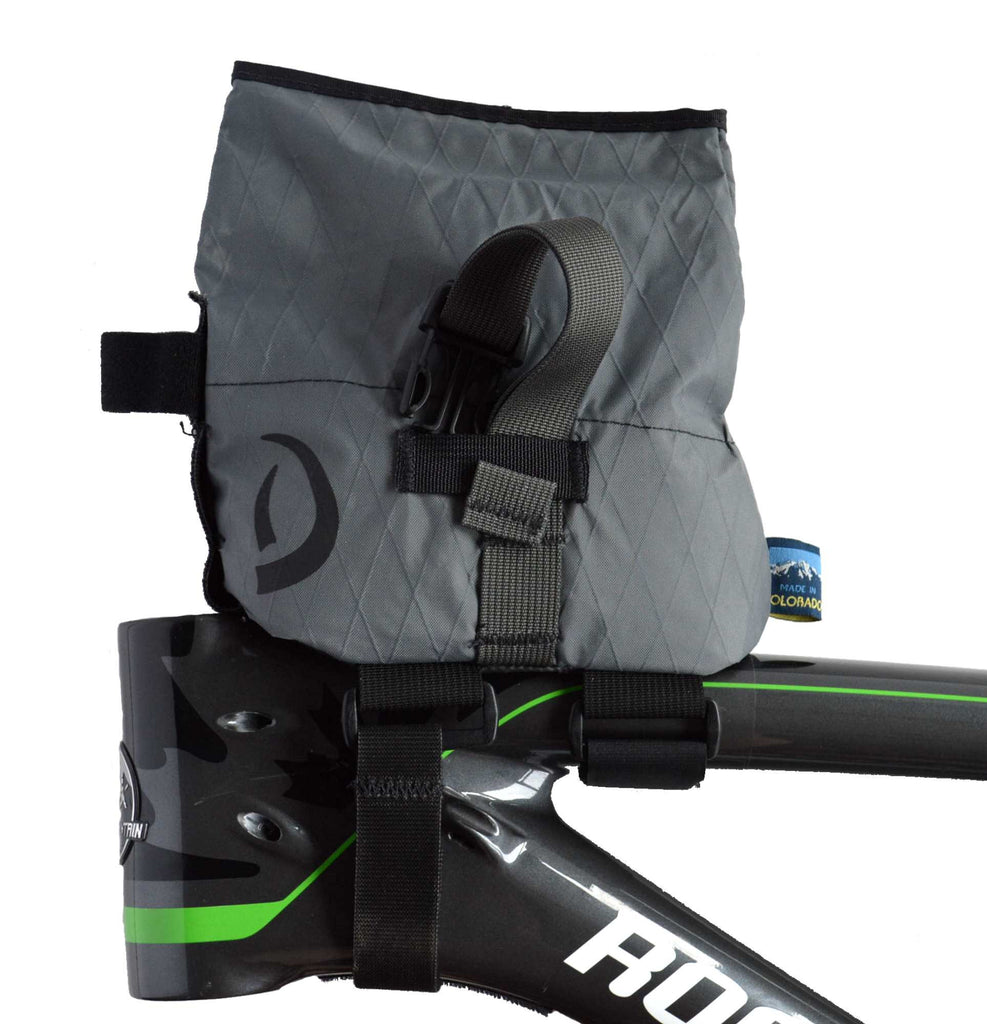 Grey Daly Top Tube Bag - left side view with bag open