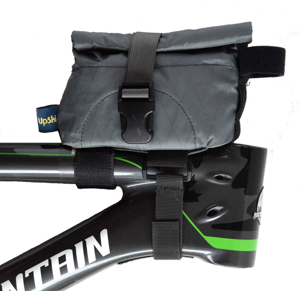 Grey Daly Top Tube Bag - right side view with bag closed