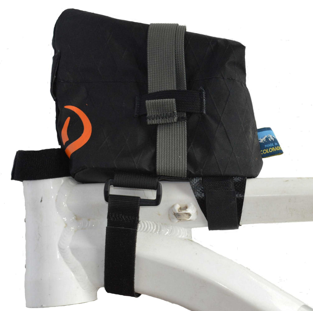 Black Daly Top Tube Bag - left side view with bag closed