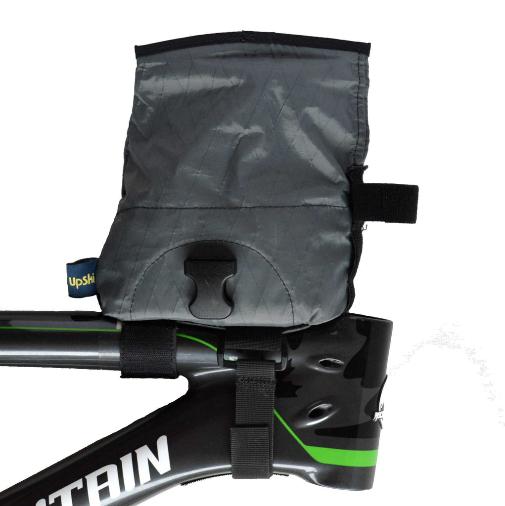 Grey Daly Top Tube Bag - right side view with bag open
