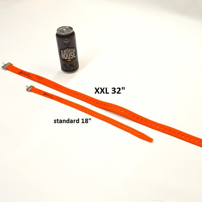 "18"" Voile Strap and XXL 32"" Voile Strap next to RFBC beer can for size reference"
