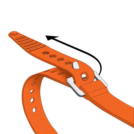 Drawing of Voile Strap attached to aluminum buckle