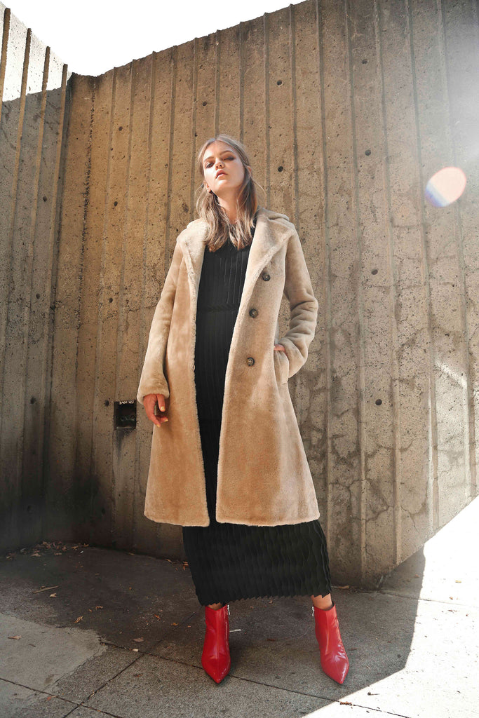 TAN SHEARLING REEFER COAT